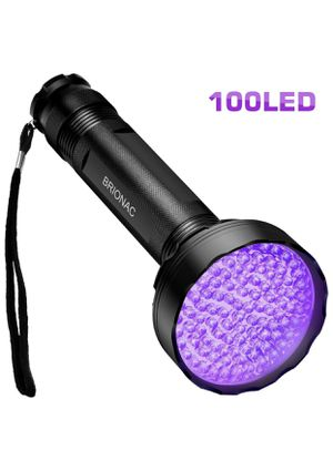 BRIONAC UV Black Light Flashlight, 100 LED 395nm Wavelength for Pet (Cat/Dog) Urine Detector, Dry Stains, Bed Bug and Scorpion with 6AAA Batteries (N for Sale in Newark, NJ