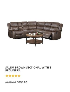 Sectional sofa with 3 recliner seats. Still very comfortable!!!! Minor repair needed. for Sale in Homestead, FL