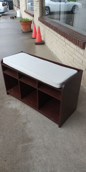 Nice Padded Bench With Storage Shelves for Sale in Lancaster, TX