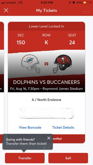 Bucs vs dolphins tickets for Sale in Ruskin, FL