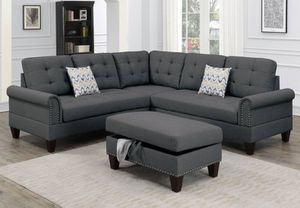 Charcoal sectional sofa (storage ottoman included) for Sale in Long Beach, CA