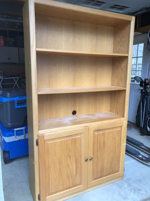 Oak Book Shelves - All stained your match. Two without doors and one with doors. for Sale in Apex, NC