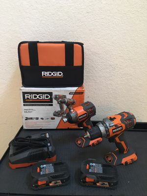 RIDGID 18-Volt Lithium-Ion Cordless Drill/Driver and Impact Driver 2-Tool Combo Kit with (2) 2.0 Ah Batteries, Charger, and Bag for Sale in Spring, TX