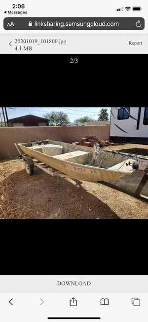 14 foot aluminum boat with a trailer and electric engine for Sale in Phoenix, AZ