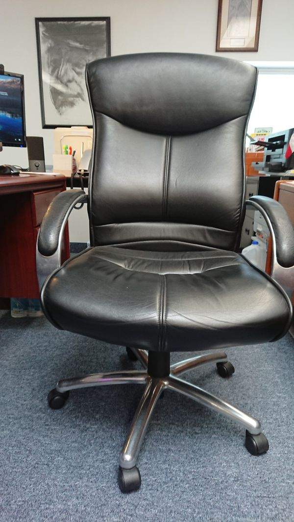 Office Chair, Executive, Leather, Black and Chrome