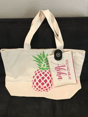 Pineapple Canvass Tote Bag with Clutch Bag for Sale in Spring Valley, CA