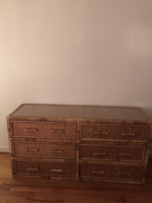 Wicker rattan wrapped dresser for Sale in Dallas, TX