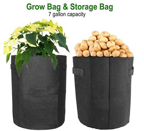 Large Sturdy & REUSABLE 10 Gallon Grow Bags with Access Flap - 2 PK!
