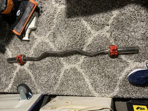 Heavy Duty Olympic Curl Bar With New Collars for Sale in Queens, NY