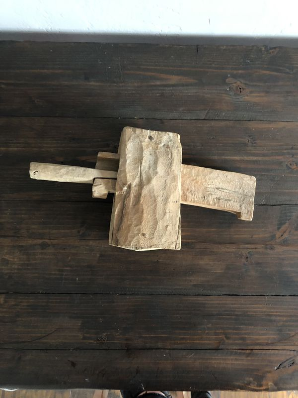 This is a wooden gate lock brought back from Israel in the early 70s