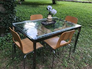Nice IKEA Extendable Glass Dining Table & 4 Bamboo Chairs for Sale in Franklin, TN