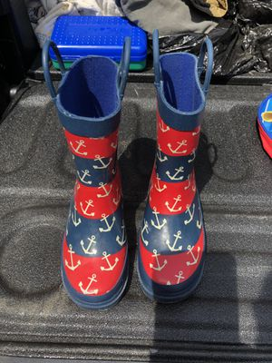 Lily & Dan Rubber Rain Boots, child size 9/10 nautical red/blue, boys or girls for Sale in Pittsburgh, PA
