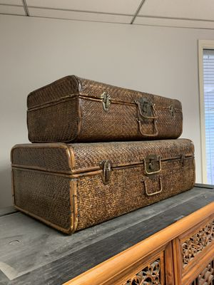 Antique wicker furniture suitcases. Set of 2. Price is for both. Look great as furniture, design piece, display. for Sale in Newport Beach, CA