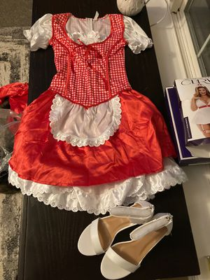 Size 12-14 Little red rideing hood with white heels 8.5 satin hood for Sale in La Center, WA