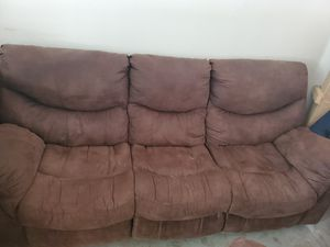 Brown microfiber couch, loveseat and recliner for Sale in Austin, TX