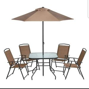 Patio Furniture Dining Set 6 Pieces Includes Outdoor Chairs Umbrella and Glass Top Table for Sale in Colorado Springs, CO