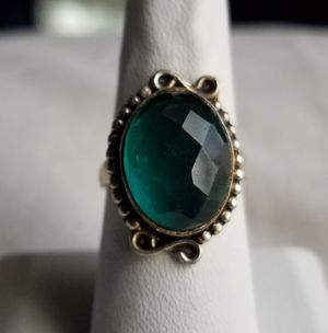 Teal blue gemstone and sterling silver ring, size 7 and 1/2 for Sale in Orrington, ME