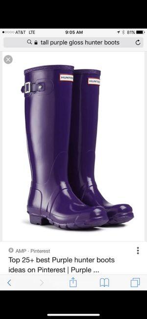 Hunter Rain Boots size 9 - Gloss Purple! New for Sale in Unionville, TN