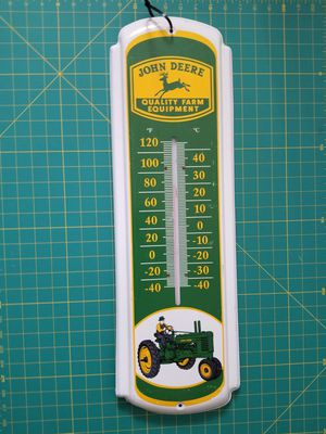 Vintage John Deere Quality Farm Equipment Metal Thermometer for Sale in Snellville, GA