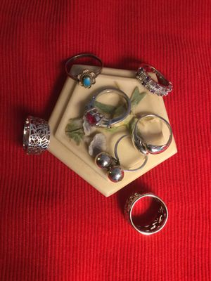 Size #5. All rings are size 5 Sterling Silver . Find the one you love or buy a bundle. Beautiful shine and style . I have 7 different styles see for Sale in Falls Church, VA