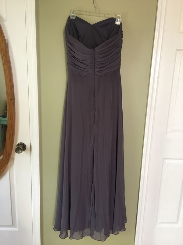 After Six Strapless Grey Bridesmaid Dress