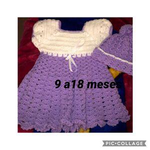 Ropita a crochet, vestidos color lavanda con blanco incluido el gorro el juego a $12. Y trajecito azul con blanco para niño el juego de 3 piezas for Sale in Manassas, VA