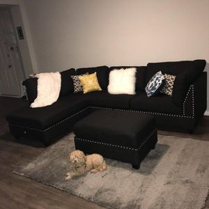 Contemporary black linen sofa sectional with ottoman 104x75 for Sale in Boca Raton, FL