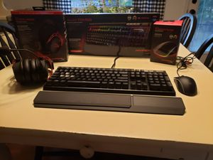 (Alloy elite rgb keyboard with cherry mx blue switches) (Cloud alpha headset) (Pulsefire surge mouse) all Hyperx brand for Sale in Chattanooga, TN