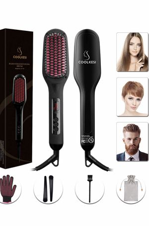 Ionic Hair Straightener Brush by COOLKESI, 30s Fast MCH Ceramic Heating Hair Straightening Brush with Anti Scald Feature, Auto-Off & Dual Voltage, Po for Sale in Columbus, OH