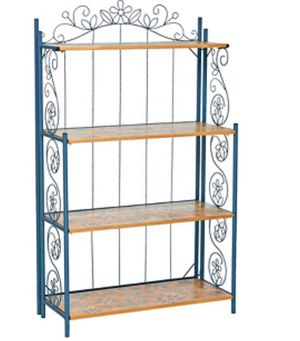 New Temp-tations Collapsible Bakers Rack w/ Wooden Shelves for Sale in Tracy, CA