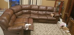 sectional learher couch with sleeper bed and 2 recliners for Sale in Hollywood, FL