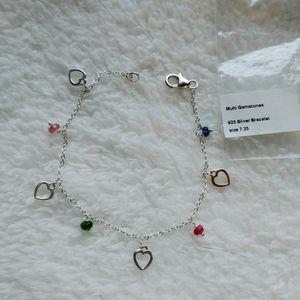 💝 NEW Sterling silver hearts & multi-color sapphire gemstones bracelet for Sale in Pompano Beach, FL