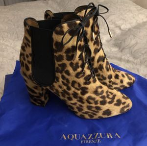 AQUAZZURA Calf Hair Animal Print Booties, Size 8 - *Like New!* for Sale in Los Angeles, CA