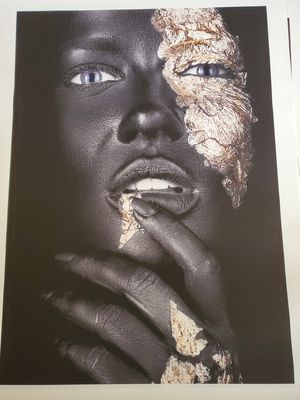 Gold mask wear black woman 27 height 19 widet with out frame for Sale in San Jose, CA