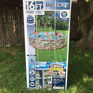 "💦 Bestway 16ft (16'x48"") Power Steel Metal Frame Above Ground Swimming Pool 💦 for Sale in Pawtucket, RI"
