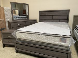 Grey Queen bedroom set must sell can deliver. With new double pillowtop set. 30yr firm set. for Sale in Chino, CA