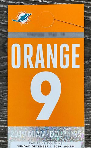 Miami Dolphins Orange Parking Pass vs Eagles for Sale in Boca Raton, FL