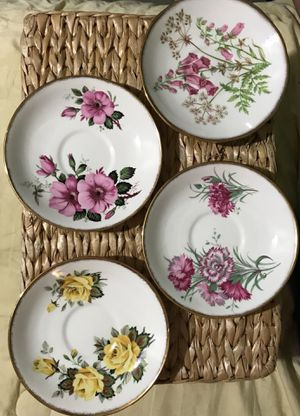 4 Antique Salisbury Bone China Saucers for Sale in Virginia Beach, VA