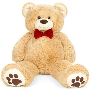 38in Giant Plush Teddy Bear Stuffed Animal Toy w/ Red Bow Tie, Footprints for Sale in Indianapolis, IN