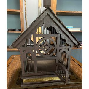 """Handcrafted Decorative Tabletop Wooden Metal Bird Cage Brass Detail 17"""" Tall for Sale in McHenry, IL"""