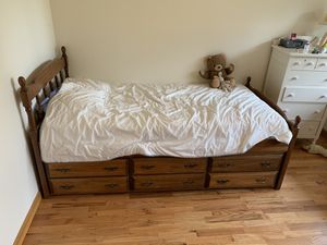 Solid wood twin bed with storage drawers for Sale in Lake Forest Park, WA