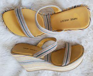 "BRAND NEW NEVER WORN Ladies Women Nine West 2.5"" Heels Wedge Sandals Shoes Stripes Sz Size 7.5M for Sale in Monterey Park, CA"