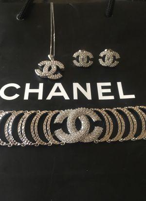 Brand new Chanel diamond earrings necklace & bracelet set for Sale in Orlando, FL