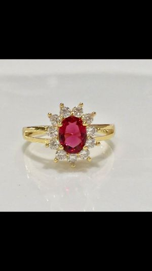 18k gold plated garnet ring size 6,7,8 available for Sale in Silver Spring, MD