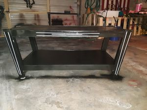 Handpainted Retro/MGM-Inspired Pinstriped Black and White Vintage Antique Wood Coffee Table for Sale in Phoenix, AZ