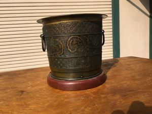 Bronze and wood brush pot for Sale in Whittier, CA