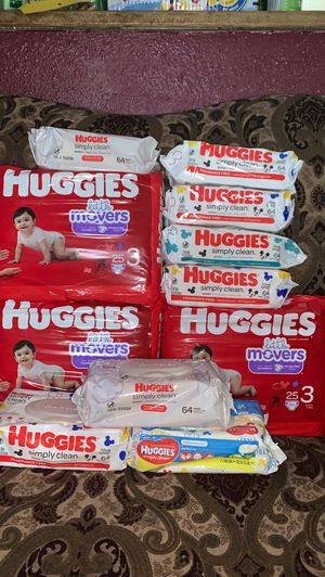 3 Huggies size 3 bags with 8 wipes for $30 all for Sale in Houston, TX