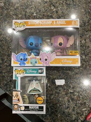 Funko Pops For Sale! Stitch Scrump and Angel and Mayor Chase Nightmare Before Christmas for Sale in Orlando, FL