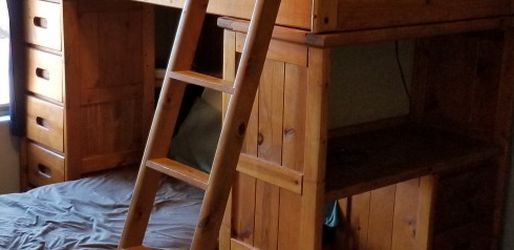 Twin Size Wood Bunk Bed With Desk for Sale in Waddell,  AZ