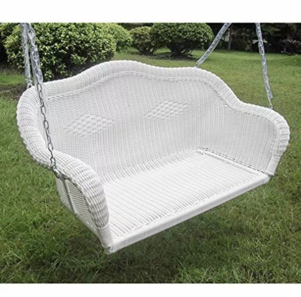 Hand woven resin wicker outdoor porch swing white